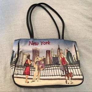 Chic New York Croquis Tote Purse w Beaded Accents